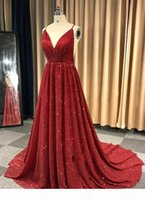 New Arrival Red Prom Dresses Long Spaghetti Straps Sequined Evening Gowns Formal Dress Party Dresses Special Occasion Gowns ogstuff