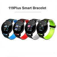 119 Plus Smart Watch Bracelet Wristband Heart Rate Blood Pressure Fitness Tracker IP67 Waterproof LCD Color Screen Sports Smartband For iOS Android Cell Phone