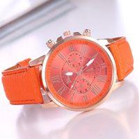 レディースウォッチ品質ファッションジュネーブローマ数字人工レザーアナログクォーツブレスレット時計ギフトW12