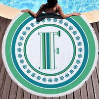 Alphabetical style round beach towel sunscreen shawl printing shower blankets colorful circular yoga mats bikini scarf sand towels