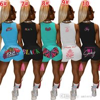 19 Colors Women Summer Tracksuits Fashion Letter Printed Two Piece Sets Sexy Sports Suit Solid Color Vest and Shorts Outfits S-XXL