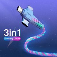 3In1 LED LED Flowing CARGER CABLES CABLES LUMINOSA LIGHTING CARGA RÁPIDA Micro Tipo-C Teléfono USB C cable de cable