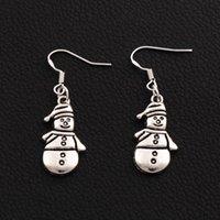 Boucles d'oreilles à bonhomme de neige de Noël 925 Crochet d'oreille de poisson argenté 50Pairs / lot tibétain argent 12.5x41.8mm E772 ZHL2469