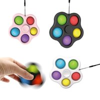 Party Gunst Decompressie Speelgoed Spinner Push Keychain 5 Bubble Top Toy Simple Dimple Keyring Squeeze Finger