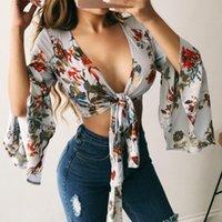 Frauen Vintage Chiffon Druck Blumenbluse Kimono Damen Lace Up Tunic Tunika Langarm Lose Hemd Wrap Brust Tops