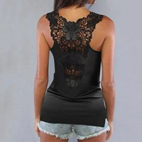 Women's Blouses & Shirts Sexy Lace Back Blouse Women Solid Hollow Out O-neck Sleeveless Vest Ladies Summer Tank Top