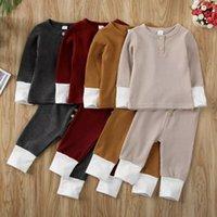 ملابس الطفل مجموعة بلون شريط الشريط حفرة طويلة الأكمام البلوز + السراويل 2 قطعة / المجموعة منامة الاطفال الدعاوى GWC7367