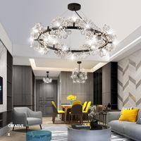 Nordic Dandelion Crystal Led Chandelier Flower Stainless Steel Lamps Shop Decoration Living Room Bedroom Ring Pendant Lights R315