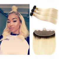 1b 613 Ombre Blonde Human Hair Pointles con el cabello virgen brasileño recto 1b 613 rubia 3bundos con 13 * 4 Frontal de encaje de pieza libre
