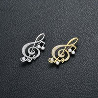 Pins, Brooches Design Rhinestone Pin Women Fashion Jewelry Classic Elegant High-Grade Crystal Simulated Pearl Brooch Music Note Simple Gift