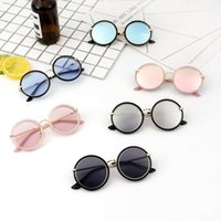 Ücretsiz DHL Erkek Kız Moda Klasik Güneş Gözlüğü Bebek Çocuk Metal Yuvarlak Çerçeve Güneş Gözlükleri Yaz Plaj Açık Spor Çocuk Anti-UV Gözlük Gözlük