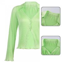 Women's Blouses & Shirts Autumn Stylish Irregular V Neck Single Breasted Shirt Women Office Ribbing For Dating
