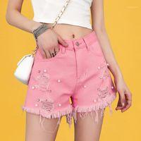 Cor-de-rosa rasgado pérola beads denim shorts mulheres soltas calças de brim branco curto cintura alta cintura calções de franja com calças de brim curtas de pérolas verão1