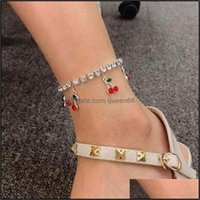 Jewelry10Pcs Cherry Anklets For Women Ankle Bracelet Foot Jewelry Cubic Zirconia Tennis Iced Out Chain Tobilleras Psera Para Tobillo Drop De