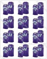 Mens Rudy Gobert 27 Donovan Mitchell 45 Joe Ingles 2 Oni 24 Personalizar City Roxo Edição Hot Press Press Jerseys Costura Camisas