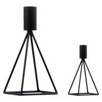 2 unids Metal negro cápsulas candelabros creativos geometría candelabros