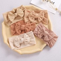 Hair Accessories 30Pcs Lot Baby Girls Bows Headbands Cable Knit Solid Wide Nylon Hairbands Turban Children Head Wrap