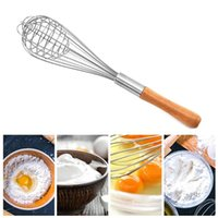 Spoons Egg Stirring Whisk Rotary Multifunction Wood Handle Stainless Steel Hand Beaters Kitchen Gadgets Accessories