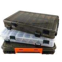 Caja de aparejos de pesca de 2 capas multifuncionales para cebos Doble lateral de plástico para estuche de almacenamiento Accesorio A306 Accesorios