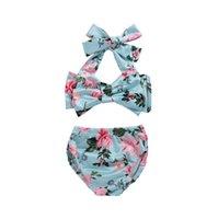 2021 لطيف الطفل الصيف انقسام قطعتين مجموعات ملابس السباحة الأزهار المطبوعة الفتيات بيكيني المايوه الاطفال الصغار الاستحمام الدعاوى الأطفال شاطئ ملابس