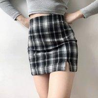Mode Casual Street Style Mini Packung Hüfte Röcke Hohe Taille Retro Plaid Series Halblangen Slim Kurze Rock