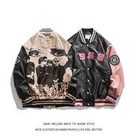Autumn Letter Embroid Motorcycle Pu Leather Jacket Men's Baseball Bomber Coat Unisex Women's Oversize Varsity Vintage