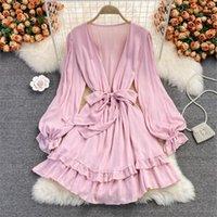 Casual Dresses Autumn Sweet Korean Dress Deep V Neck Ruffles Short Long Sleeve Solid Elegant Vestidos Female Robe Woman Clothing Atopos