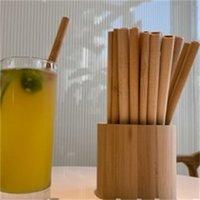 Bambou de paille Réutilisable 20cm Bangboo Bamboo Buvant Pailles de bois Naturel Pailles de bois pour l'anniversaire de fête Outil 578 R2