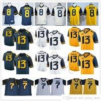 Batı Virginia Mountainers College Futbol Giyim 7 Will Grier Jersey 8 Karl Joseph 13 David Sills V # 13 Rasul Douglas Sarı Mavi Beyaz Formalar
