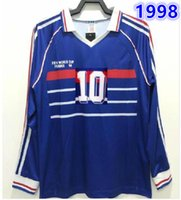 긴 소매 프랑스 10 Zidane Henry Maillot de Foot 유니폼 축구 유니폼 셔츠 태국 품질 1998 프랑스 레트로 빈티지 마이 롯 드 축구