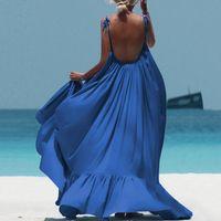 Casual Dresses Sexy Women Strap Maxi Blue Dress O Neck Backless Big Swing Beach Party Elegant Summer Boho Long Vestidos 2021
