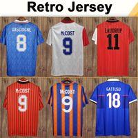 96 97 Laudrup رجل الرجعية لكرة القدم الفانيلة Albertz Gascoigne McCoist Ferguson Gattuso الصفحة الرئيسية بعيدا رينجرز كرة القدم قميص الزي الرسمي
