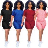 Летние йога женские трексуиты шорты наряды двух частей набор xs-3XL женская одежда повседневная короткая рукава спортивная одежда спортивный костюм продает KLW6401