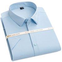 Men Shirt Dress Office Normal Short Sleeve Turndown 95% Polyester 5% Spandex Thin Summer Solid Light Blue Broadcloth