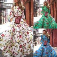 السنة الجديدة 2021 الأوروبية والأمريكية جديدة الطباعة الرقمية كبيرة فستان سوينغ الشيفون سليم أزياء اللباس زائد حجم النساء الملابس