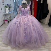 Light Purple Ball Gown Quinceanera Dresses Sweetheart 2021 Applique Long Sleeves Sweet 16 Dress Pageant Gowns vestidos de 15 años
