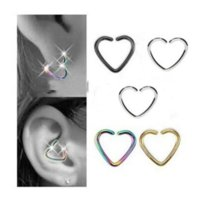 Fashion Hot 50pcs lot Wholesale Fake Nose Rings and Studs Charm Heart Body Jewelry Falese Ear Studs DFF3209