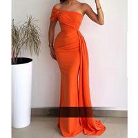 세련된 섹시한 인어 이브닝 드레스 스윕 훈련 한 어깨 오렌지 새틴 아랍어 두바이 여성 긴 댄스 파티 드레스 2021 Vestidos
