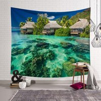 Tapestries Summer Plam Tree Tapestry Wall Fabric Hippie Sunset Seaside Decor Blanket Bohemia Nature Hanging Landscape