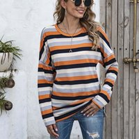 Women's Hoodies & Sweatshirts Oversized Pullover Sweatshirt Striped Print Long Sleeve O-neck Patchwork Tops Female Casual Streetwear