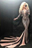 Casual Dresses Women Costume Prom Party Celebrate Long Train Dress Sexy Evening Skinny Fashion Black Sequins Sleeve Rhinestone