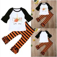 Kid Girls' Cartoon Unicorn Pumpkin Flower Blouses Pullover T shirt Tops and Striped Pants Outfits 2 Piece pajamas Tracksuit Christmas Halloween Clothes Set H914S7IJ