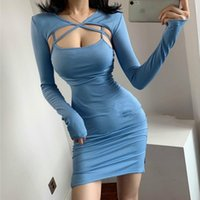 Bandage Sexy Autumn Sweet Low-cut Lace-up Hip Slim Full Sleeve Hollow Out Mini Blue Dress For Womens Girl Female DAYD Casual Dresses