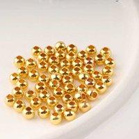 500 Perles de cuivre en cuivre en cuivre plaqué or perles plaquées d'argent perles percé de perles solides bricolage de bijoux perles
