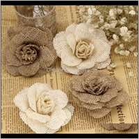 Decorative Wreaths Festive Home & Gardenchic Handmade Jute 9Cm 1Pc Burlap Wedding Decoration Party Supplies Linen Flowers Christmas Drop Deli