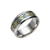 FactoryGold Jewelry pretty Mens Stainless Vintage Steel Dragon 316L Lord Wedding Male Luxury Band Ring for Lovers Men