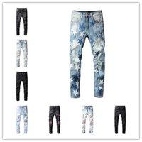 Мужские джинсы дизайнерские несколько стилей рваные отверстия молнии брюки тонкий джинсовый размер 28-40 повседневная винтажная байкер твердых брюк мода улица носить мотоцикл джин