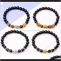 Event Festive Supplies Home & Gardenluxury Jewelry Agate Beaded Elastic Bracelets Natural Stone Buddha Head Bead Bracelet Men Women Birthday