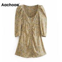 Casual Dresses Aachoae Floral Print Retro Mini Women Puff Sleeve Fashion Buttons Dress Female Square Collar Party Vestidos 2021