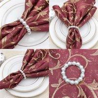 Novo branco pérolas de guardanapo de guardanapo do guardanapo do guardanapo do guardanapo para a recepção do casamento Decorações da tabela do partido suprimentos EWB7943